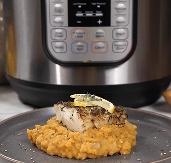 Spice-Rubbed Sea Bass and Red Lentils