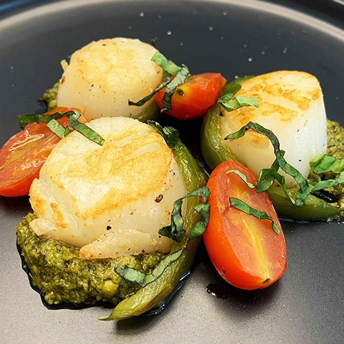 Seared Scallops with Pesto and Pan Roasted Bell Peppers